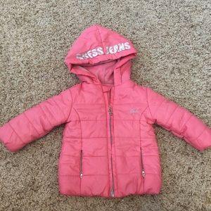 Guess Sz 12 Months Girls Pink Puffer Coat Spellout